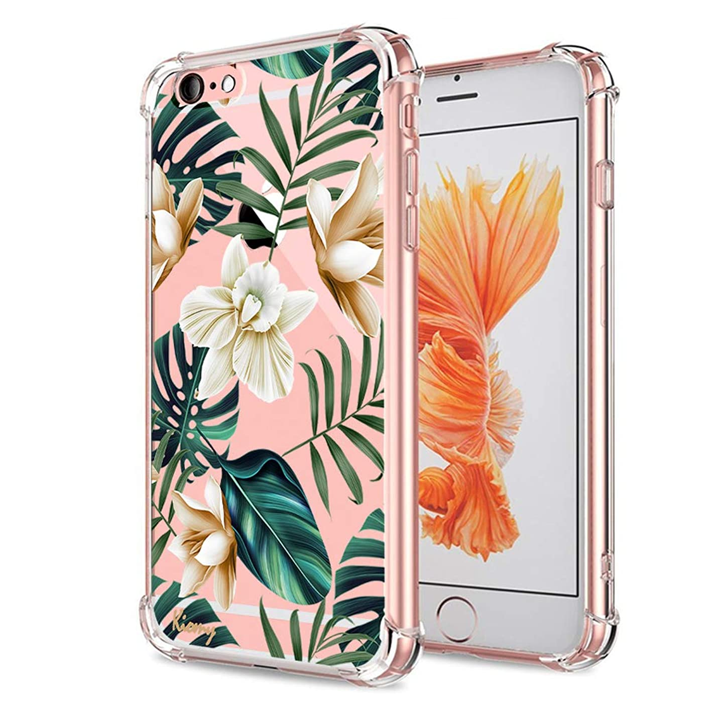 iPhone 6S Case, KIOMY Ultra Crystal Clear Case with Design Cute Palm Floral Texture Bumper Shockproof Protective Case for iPhone 6 6S 4.7 Inch Flexible Soft Cover Gel Silicone Bumper Corners