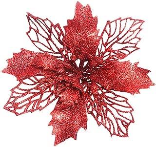 JustWin 5Pcs Christmas Decoration Christmas Simulation Flower Ornament Christmas Tree Ornaments