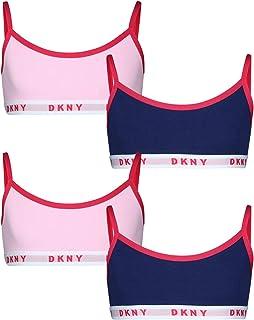 DKNY Girls Cotton/Spandex Training Sport Bra (4 Pack)