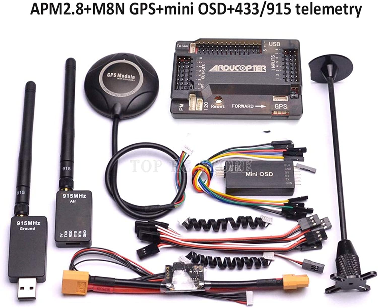 Laliva APM2.8 APM 2.8 Flight Controller M8N 8N GPS Compass with Power Moudle Mini OSD   915Mhz   433Mhz 100mw Telemetry Kit  (color  Without telemetry)