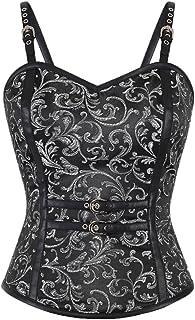 fdf5bccdaab Black Brocade Leather Straps Waist Cincher Bustier Plus Size Overbust  Corset Top