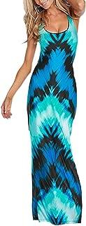 FOCUSNORM Women's Sexy Boho Maxi Dress for Evening Party Summer Straps Sundress