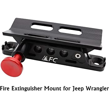 Adjustable Fire Extinguisher Holder Mount with 4 Clamps Fit for Jeep Wrangler UTV Polaris RZR Ranger, Aluminum-1-year Warranty