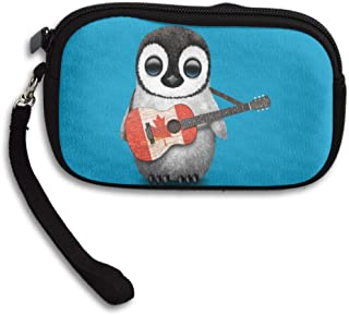 ZGZGZ Womens Girls Penguin Play The Guitar Canada Flag Maple Leaf Small Wallet Coins Wallet With Zipper