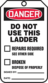 """Accuform Signs TRS331CTP Ladder Status Tag, Legend""""Danger DO NOT USE This Ladder"""", 5.75"""" Length x 3.25"""" Width x 0.010"""" Thickness, PF-Cardstock, Red/Black on White (Pack of 25)"""