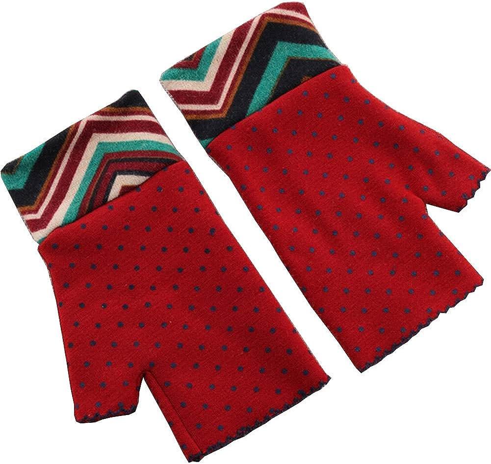 Alien Storehouse Elegant Winter Fingerless Gloves Mittens for Women Dot Red