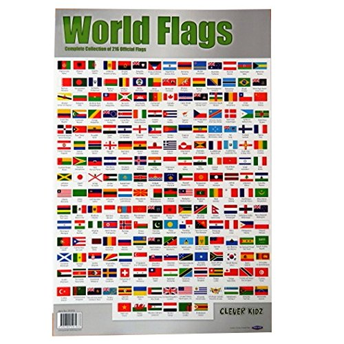 Clever Kidz Komplette Sammlung von Flaggen der Welt, große Farbe Mauer Poster - Größe 840 mm x 495 mm