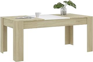 Festnight Table à Manger Blanc et chêne Sonoma 180 x 90 x 76 cm Aggloméré