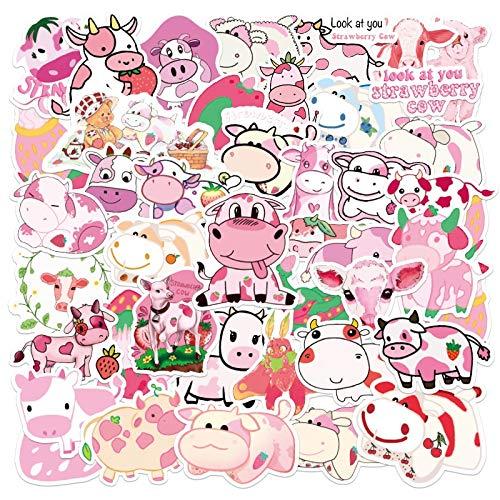 JIAQI Kawaii Cartoon Pink Erdbeer Kuh Aufkleber für Mädchen Kinder DIY Skateboard Koffer Laptop Fahrrad Helm Auto Aufkleber 50Pcs