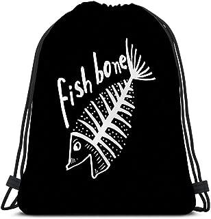 Customized Men's And Women's Sports Drawstring Bag fish bone fish skeleton poster logo fish bone fish skeleton poster logo black white