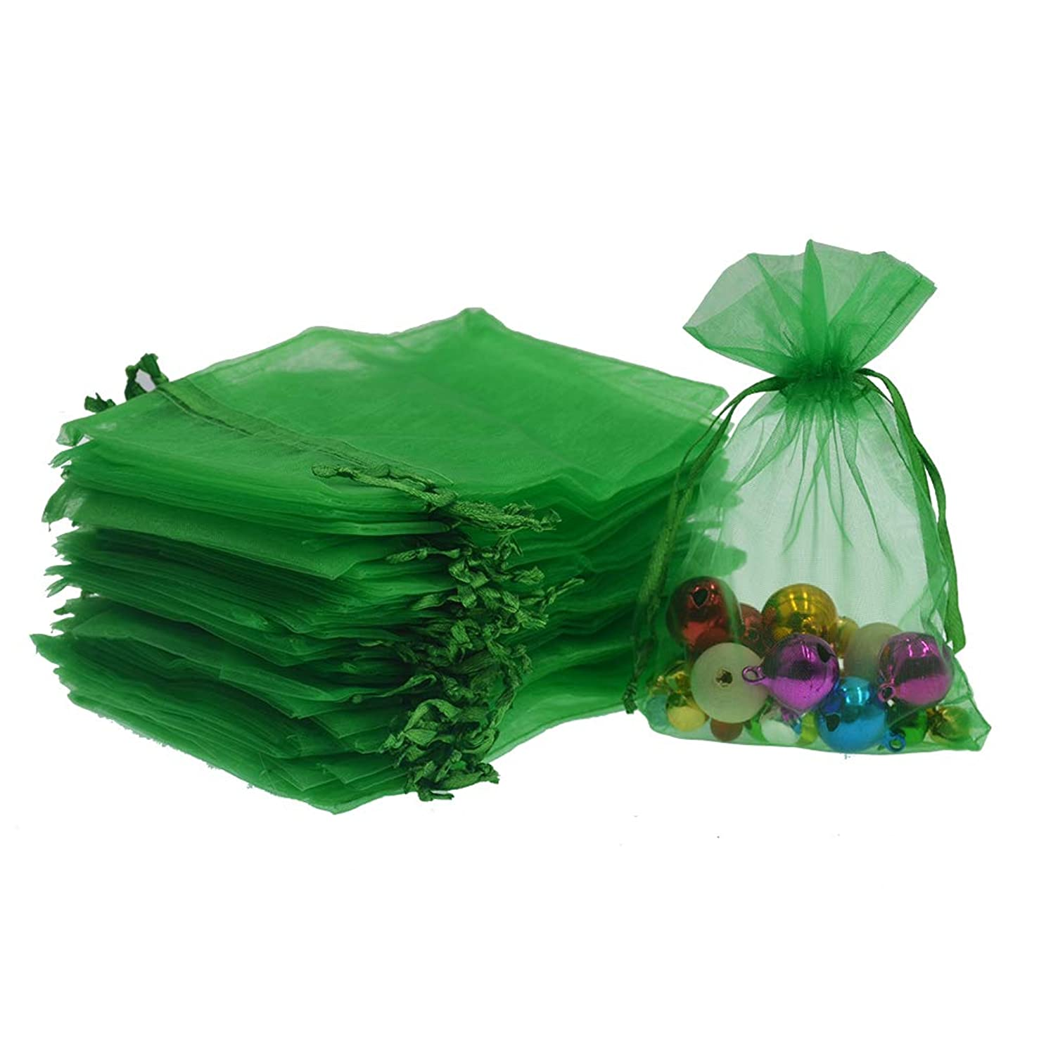 Lautechco 100Pcs Organza Bags 3x4 inches Green Organza Gift Bags Small Mesh Bags Drawstring Gift Bags Christmas Drawstring Organza Gift Bags (3x4 inches Green)