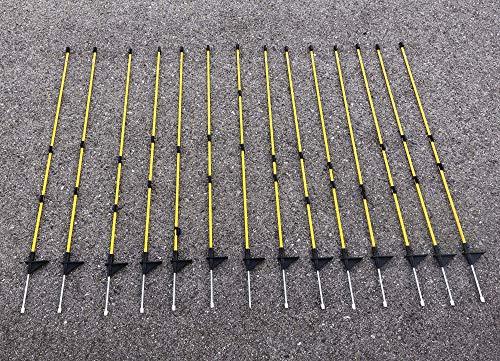 Callieway® Carbonfaser Zaunsteher/Zaunpfahl für z.B Hundezaun (100cm hoch (15er Packung))
