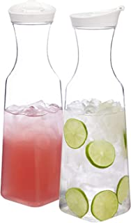STORi Clear Plastic 50-ounce Square Base Carafes | set of 2 | White Lids