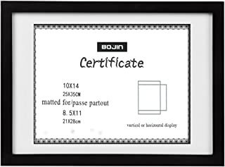 10x14 Picture Frames Black Made to Display 8.5x11 Frames with Mat Document with Wooden Photo Frame Diploma and Certificate Frame for Wall Hanging Home Decoration