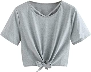 4bac0943 FORUU Women Summer O Neck Chiffon Solid Short Sleeve Blouse Tops Clothes T  Shirt