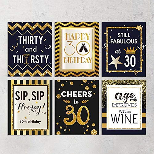 GSS Designs 30th Birthday Wine Beer Bottle Labels Stickers Present -Pack of 6 -Cheers to 30 Years, Fabulous Unique Party Decorations Stickers for Man(WBS-002)