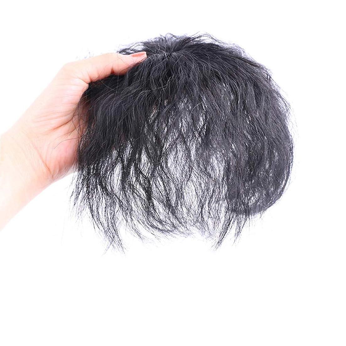 スプレー長椅子正確なYrattary ヘアエクステンションコーンの短い巻き毛の中年の母親のかつらパーティーのかつらでリアルヘアクリップ (Color : Natural black)