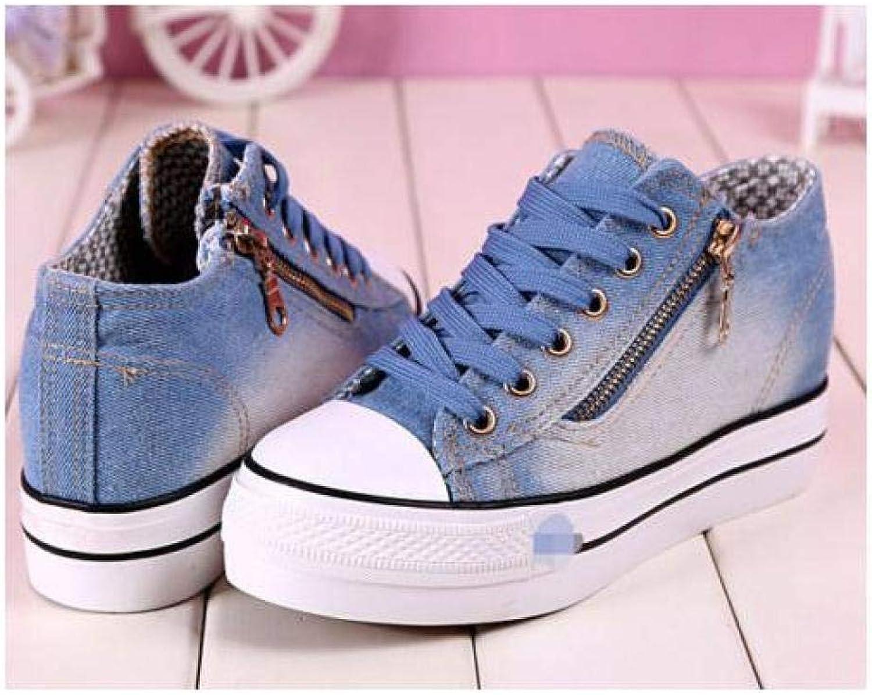 FidgetFidget Round ToLacUp Women Sneakers Platform WedgHeels Denim LeisurCanvas shoes Light blueUS6=UK4=AU5=EUR 37