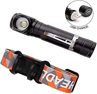 USB Rechargeable Tactical Flashlight Right Angle Headlamp Flashlights, Pocket-sized Small LED Flashlight Torch Built in Rechargeable Battery, Magnet and Clip for Camping, Hiking and Cycling
