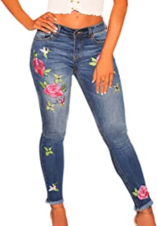 Women High Waist Rose Embroidered Skinny Jeans Distressed Denim Pants