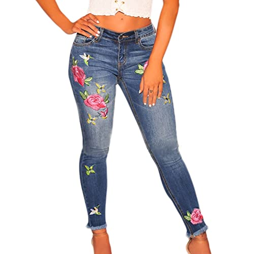 Womens GRACE IN LA Easy Fit Skinny Jeans Colorful Embroidered ROSES Legs Pocket