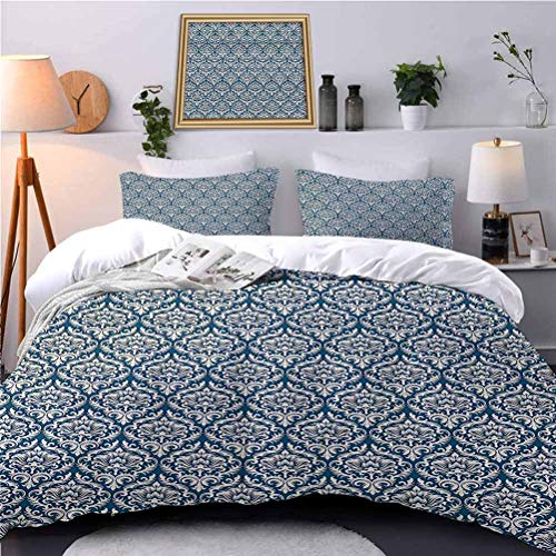 UNOSEKS LANZON Bedspread Coverlet Set eFloral Ornamental DamaskVictorian Style Baroque Organic Motifs Stencil Soft Bedding Cover Wrinkle/Fade Resistant Breathable Machine Washable - Twin Size