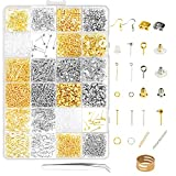 Earring Making Supplies,LANMOK 2410pcs Jewelry Making Kits in Earring Backs Earring Hooks Earring Posts for DIY Beginners Adults Crafters