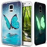 Kompatibel mit Galaxy S5 Hülle,Galaxy S5 Neo Hülle,Galaxy S5/S5 Neo Schutzhülle,Bunte Gemalt [Leuchtend Luminous] Handyhülle TPU Silikon Hülle Handy Hülle Tasche Schutzhülle,Blau Schmetterling