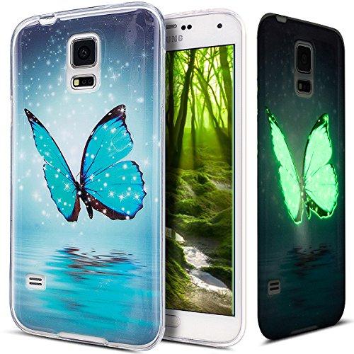 ikasus Kompatibel mit Galaxy S5 Hülle,Galaxy S5 Neo Hülle,Galaxy S5/S5 Neo Schutzhülle,Bunte Gemalt [Leuchtend Luminous] Handyhülle TPU Silikon Hülle Handy Hülle Tasche Schutzhülle,Blau Schmetterling