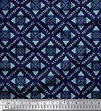 Soimoi Blau Baumwolljersey Stoff Pfeil & Dreieck