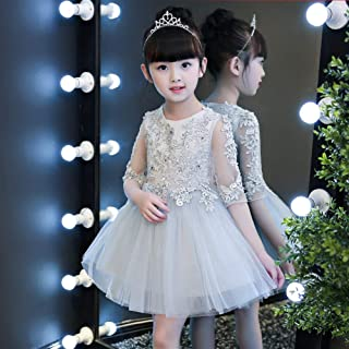 Luxury Pompon Princess Dress Girls Bouquet Beaded Gauze Gray Short Dress with Flower Little Girl Show Host Costumes Western Style Piano ryq (Color : Gray, Size : 160cm)