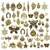JuanYa Mayorista 50 piezas de oro antiguo varios colgantes colgantes para hacer joyas