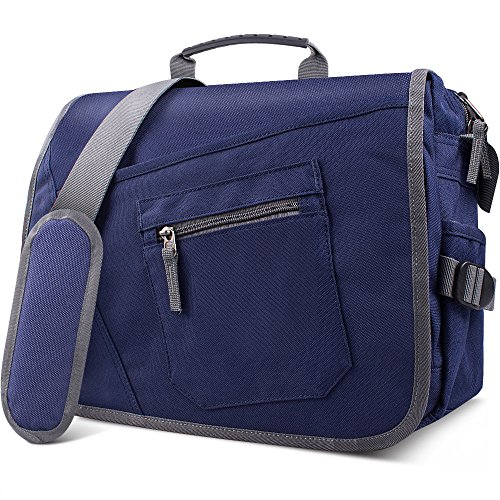 Qipi Messenger Bag - Pocket Rich Satchel Shoulder Bag for Men & Women - with 15.6 inch Laptop Compartment (Blue)