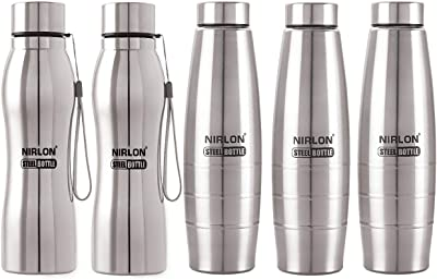 NIRLON PLAIN STEEL BOTTLE COMBO SET PACK OF 05 1000 ML USE FOR KITCHEN SCHOOL