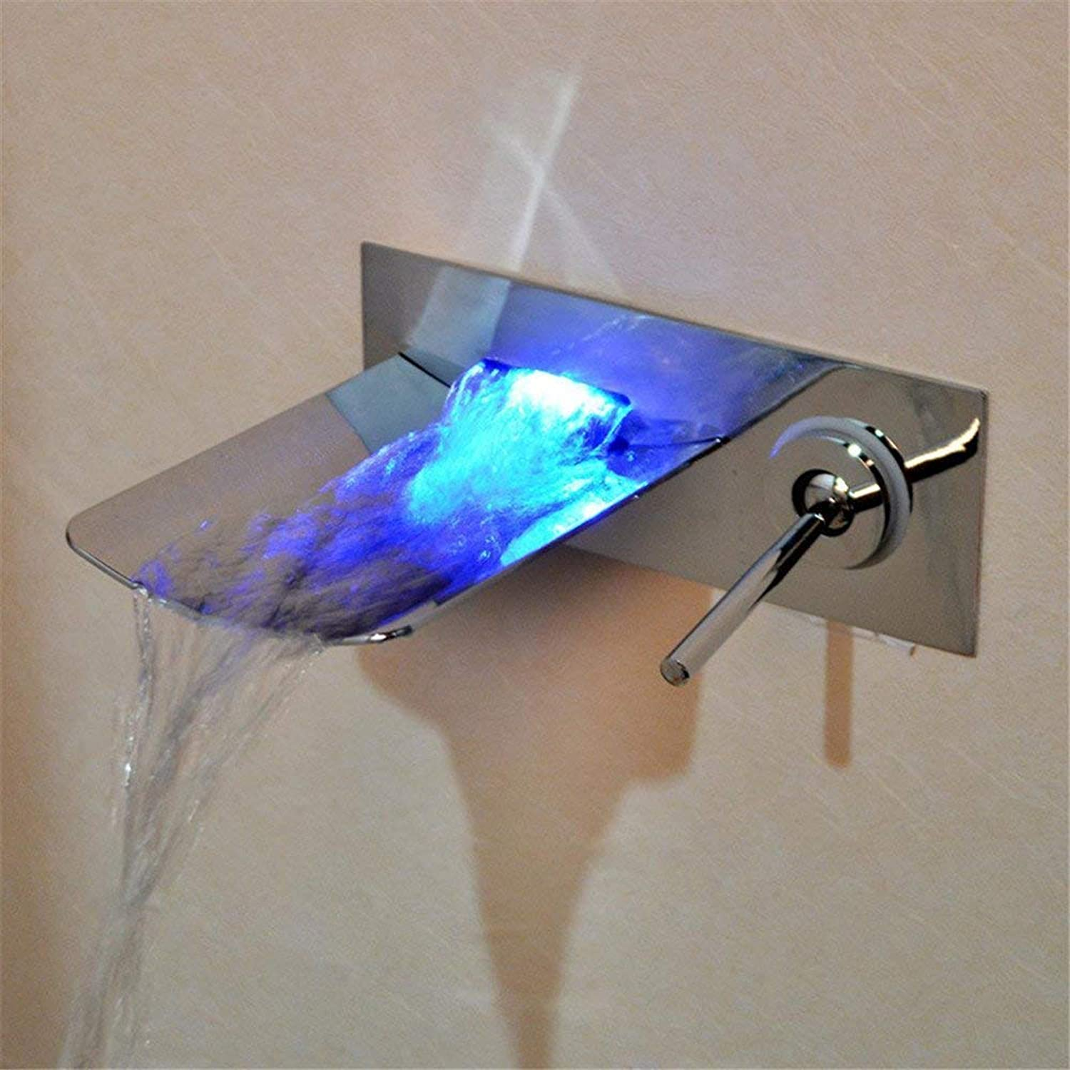 Simple LED glow waterfall faucet concealed wall faucet (color   -, Size   -)