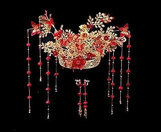 HangErFeng Headwear Wedding Bride Handmade Chinese Decoration Corolla Gold Princess Long Tassel Hair Accessories