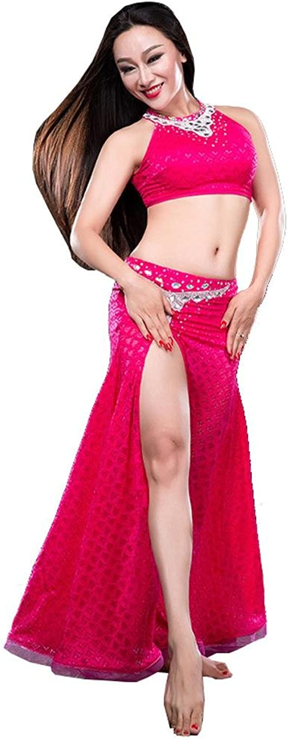 Women india belly dance practice clothes modern lace diamond vest long skirt performance costume