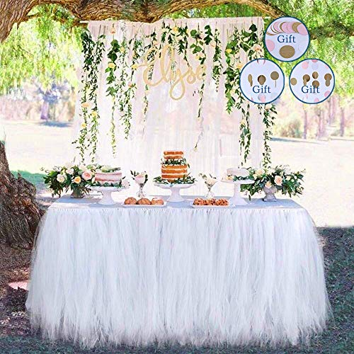 Meng Shop Decoraciones para fiestas Tutu Tulle Falda de mesa Adecuado para fiestas Fiestas de boda Princess Party Decor, Baby & Girls Favorites-Free Paper Chain Flowers (Blanco)