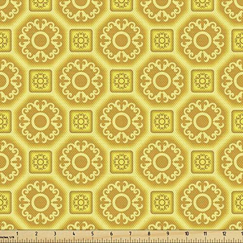 Lunarable Senf-Stoff von The Yard, orientalischer Stil, authentische Barock-Fliesen, portugiesische Kultur, dekorativer Stoff für Polster und Wohnungen, ca. 2 m, Erdgelb