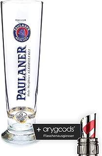 Paulaner libre de alcohol 0,5L Cristal/vasos, Blanco cerveza, marca Cristal, cerveza cristal + Botella vertedor