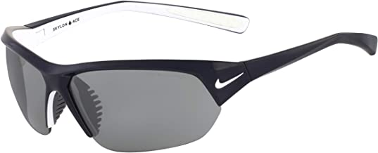 Nike Eyewear Men's Nike Skylon Ace Rectangular Sunglasses, SHINY OBSIDIAN/WHITE, 69 mm