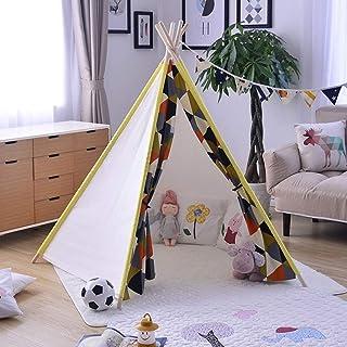 Heqianqian Barntält Teepee tält för barn inomhus/utomhus hopfällbara tipi-tält för barn småbarn inomhus- och utomhusspel b...