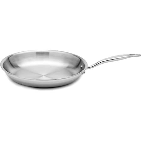 Heritage Steel 12-Inch Fry Pan - Titanium-Strengthened 316Ti Stainless Steel Pan with 7-Ply Construction - Induction-Ready and Dishwasher-Safe, Made in USA