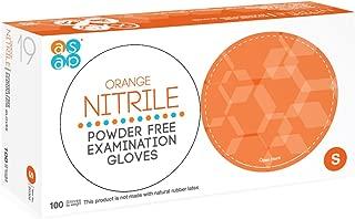 ASAP Orange Nitrile Powder Free Examination Gloves, Disposable, 4.5 mil, Orange (Small - Box of 100)