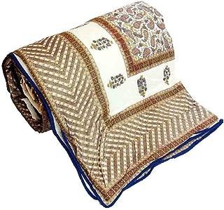 Little India Hand Block Golden Brown Designer Double Bed Dohar 304