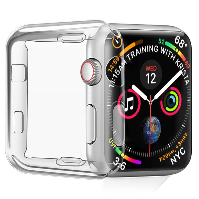 死製作世紀Kartice for Apple Watch 5/ Apple Watch 4 改善された全面保護ケース 44mm (2 PACK) トップと側面保護 着装まま充電可能「ソフトTPUクリア 」耐衝撃 (44mm,クリア)