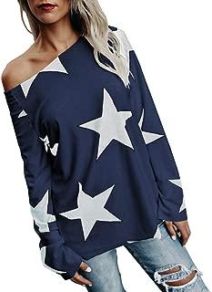 Women Blouse HGWXX7 Loose Plus Size Strapless Star Sweatshirt Long Sleeve Crop Jumper Pullover Tops