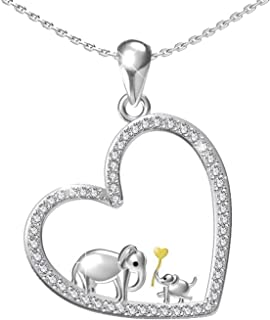 Mother Daughter Jewelry - 925 Sterling Silver Ring Pendant Lucky Elephant Love in Heart Necklace Bracelet for Women Girls