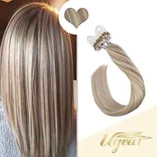 Ugeat Micro Ring Beads Hair Extensions 14inch Microlink Real Human Hair Extensions 1g/Strand 50g Piano Color Ash Blonde #18 with #613 Bleach Blonde Micro Loop Hair Extensions