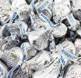 LaetaFood HERSHEY'S KISSES Milk Chocolate Candy Bulk in Silver Foil Wrap (1 Pound Bag = Approx.100 count)